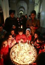 Children visit a church in New Delhi