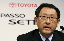 Toyota Motor Corp executive vice president Akio Toyoda speaks during an unveiling of its new seven-seater compact vehicle Passo Sette in Tokyo