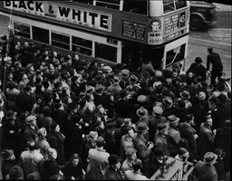 Rush For Trams And Buses During The Hold Up Crush At The Elephant And Castle Showing People Scrambling For A Bus
