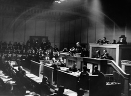 Heinrich Bruening during a speech to the League of Nations in Geneva, 1932