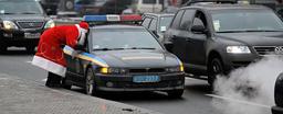 UKRAINE-CURIOSITIES-FATHER FROST-POLICE