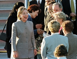 USA'S FIRST LADY HILLARY CLINTON WITH DIPLOMATIC STAFF IN MONTEVIDEO
