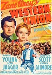 WESTERN UNION, top from left: Robert Young, Virginia Gilmore, Randolph Scott, 1941, TM and Copyright