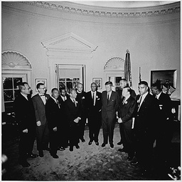 PRESIDENT KENNEDY MEETS MARTIN LUTHER KING AND OTHER CIVIL RIGHTS