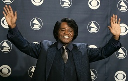 File photo of James Brown gesturing backstage at the 47th annual Grammy Awards in Los Angeles