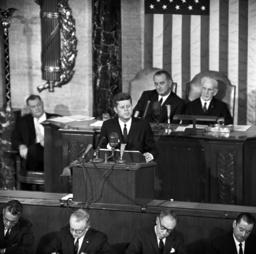 John F. Kennedy speaks in front of US congress