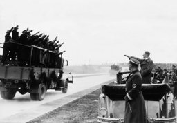 Adolf Hitler opens a section of the Reich Highway near Breslau, 1936