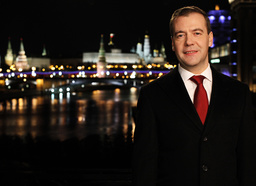 Russian President Medvedev stands during the recording of the traditional televised New Year's address to the nation in Moscow