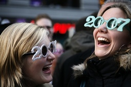 Revelers begin to gather at Times Square in the afternoon as part of New Year's Eve celebrations in New York