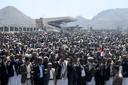 Supporters of Yemen's President Ali Abdullah Saleh pray during a rally to show support for him in Sanaa