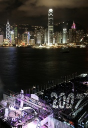 Thousands of revellers gather as 2007 is projected on the crowd during a rehearsal held a few hours before the new year in Hong Kong