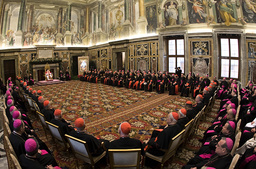 Pope Benedict XVI addresses cardinals for Christmas wishes in the Clementine Hall at the Vatican