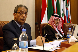 Arab League Secretary-General Moussa and Saudi FM Prince Saud al-Faisal attend the Arab foreign ministers meeting at the Arab League headquarters in Cairo