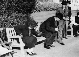 Arthur Neville Chamberlain and his wife trial sitting in St. James Park, 1937
