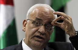 Chief Palestinian negotiator Erekat speaks during a news conference in Ramallah