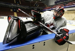 Canada's goaltender Price stretches during his team's practice for World Junior Hockey Championships in Leksand
