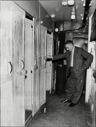 Law Crime Robbery 1963 'the Great Train Robbery' Detective Of The Railway Police Examines A Strong Room In The Mail Van Of The Train