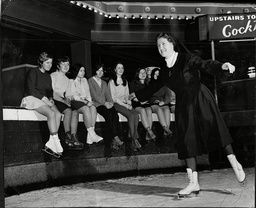 Sister Edith A Nun And Teacher At Notre Dame Collegiate School Everton Valley Liverpool Skating At The Palace Ice Rink In Anfield.