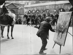 Homerville Hague Finishing His Painting Of King George V On His Mount At Horse Guards' Parade During The Presentation Of The New Colours To The Guards - 1925.