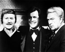 SWITCH, from left: producer-writer Glen A. Larson, Robert Wagner, Eddie Albert, 1975-78.