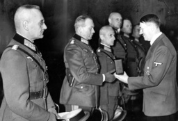 Adolf Hitler awarding the Knight's Cross of the Iron Cross to General Heinz Guderian, 1939 (b/w photo)