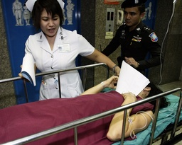 Victim Kovacs of Hungary is taken to hospital after bomb blasts in Bangkok