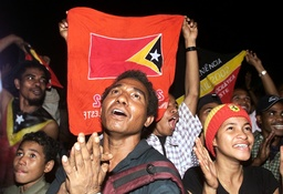 EAST TIMORESE CELEBRATE INDEPENDENCE IN TASITOLO NEAR DILI