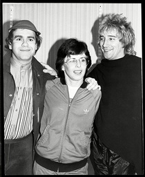A Strange Gathering Of Three Top Names From The Seventies But All With A Love For Sport. From Left To Right: Elton John Tennis Star Billie Jean King And Rock Star Rod Stewart.