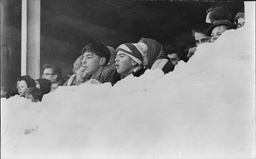 Football League Match 1963 Swindon Town V Queens Park Rangers (qpr) Showing Fans Fighting The Snow To Watch The Game