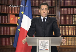 France's President Sarkozy delivers his recorded New Year's Eve speech in Paris