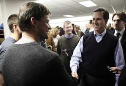 Republican presidential candidate Santorum campaigns in Orange City