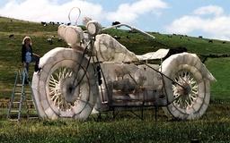GIANT MOTORCYCLE ART PIECE IN PADDOCK NEAR KERIKERI IN NZ