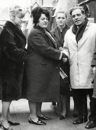 L-r: Mrs Yvonne Blenkinsop Mrs Lilian Bilocca And Mrs Mary Dennes Being Greeted By James Johnson M.p. For Hull West. Mrs Lilian Bilocca Known As 'big Lil' Is Leading A Campaign For Better Safety On Britain's Trawlers After Three Hull Trawlers Went