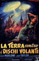 EARTH VS. THE FLYING SAUCERS, (aka LA TERRA CONTRO I DISCHI VOLANTI), Italian poster art, Joan Taylo