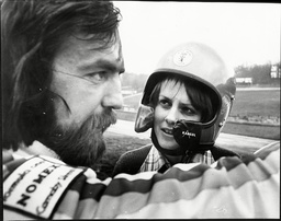 Lady Jane Wellesley Daughter Of Duke Of Wellington And Friend Of Prince Charles Here With Racing Driver Mike Wilds At Brands Hatch 1975.