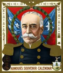 The Spanish American War. Portrait of Admiral George Dewey. Armour's souvenir calendar, color lithog