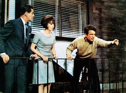 PROMISE HER ANYTHING, from left: Robert Cummings, Leslie Caron, Warren Beatty, 1965