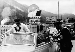 Italian border guards at a passport control in Brenner, 1938
