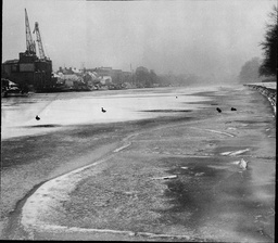 Cold Weather 1960's: The River Thames Frozen Over Looking Upstream From Middlesex Bank Toward Hampton Court Bridge.