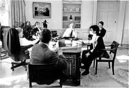 Clinton at Work in Oval Office