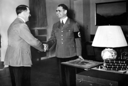 Adolf Hitler congratulates Rudolf Hess on his birthday, 1938