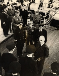 President Of Poland Wladyslaw Raczkiewicz Inspects His Navy At Plymouth - Aboard The Gydnia With Polish Navy And Army Officers Circa 1940.