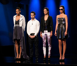 PROJECT RUNWAY, Viktor Luna (2nd from left) with models, 'Finale, Part One of Two', (Season 9, ep. 9