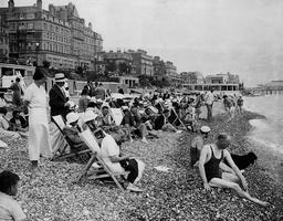 1930's Beach Scene Eastbourne Sussex England.