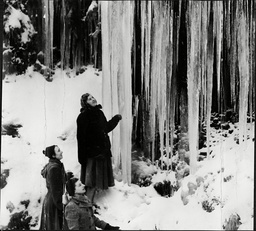 Winter 1956. This Icy Wonderland Found By Sheffield Hikers Ann Wheatcroft Betty Sykes And Janet Harris Is At Grimes Brook Edale. The Girls Saw The Huge Icicles Hanging Like Stalactites During A Hike In The Peak District.