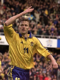 ANDERSSON OF SWEDEN CELEBRATES HIS FIRST GOAL AGAINST POLAND