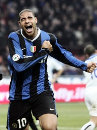Inter Milan Adriano celebrates after scoring against Atalanta during their Italian Serie A soccer match in Milan