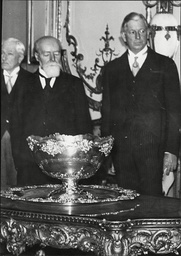 French President Paul Downer With Dwight Davis Tennis Player And Founder Of The Davis Cup Dwight Filley Davis (july 5 1879 Oo November 28 1945) Was An American Tennis Player And Politician. He Is Best Remembered As The Founder Of The Davis Cup Intern