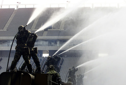 SOLDIERS CONDUCT AT AN ANTI-TERROR DRILL IN SEOUL WORLD CUP STADIUM