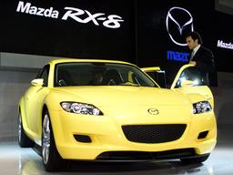 MAZDA'S SPORT CAR RX-8 DISPLAYED AT 35TH TOKYO MOTORSHOW 2001 IN MAKUHARI